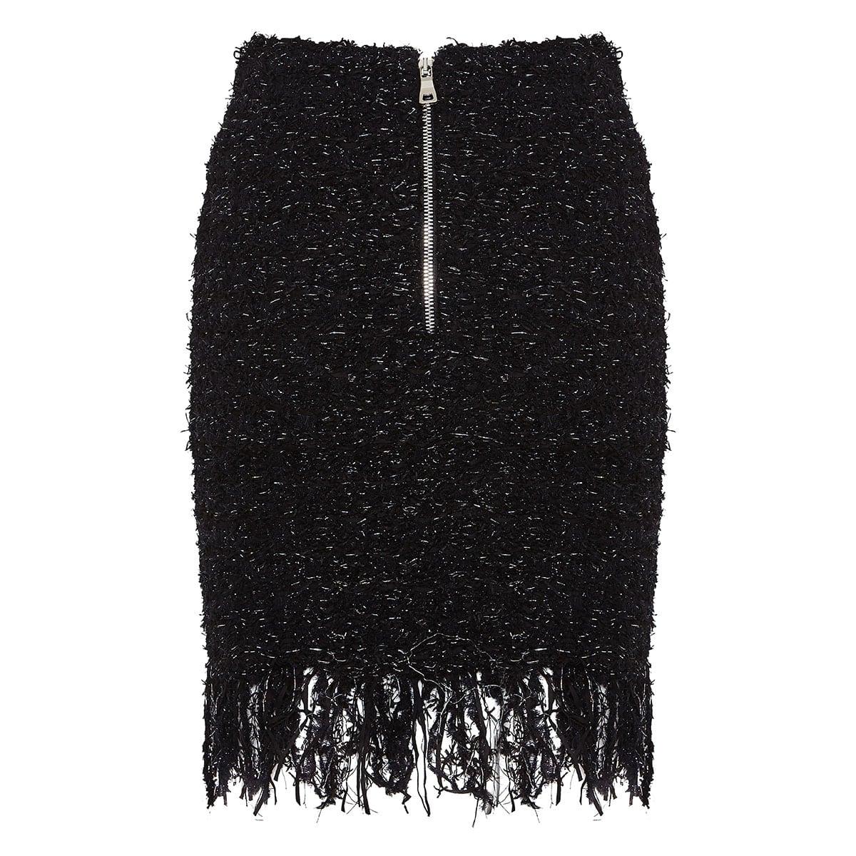 Fringed tweed mini skirt