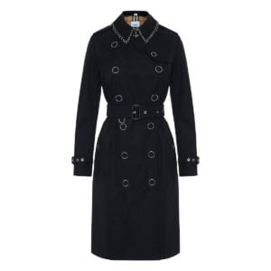 Ring-pierced Cotton Gabardine Trench Coat