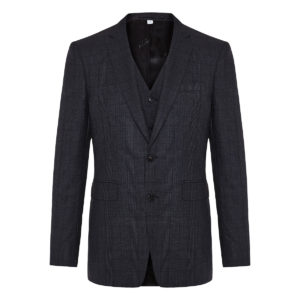 Checked three-piece wool suit