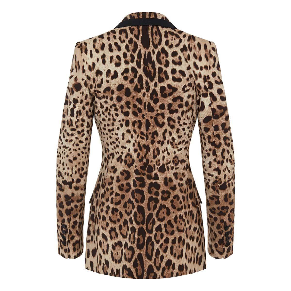 Single-breasted leopard tuxedo blazer