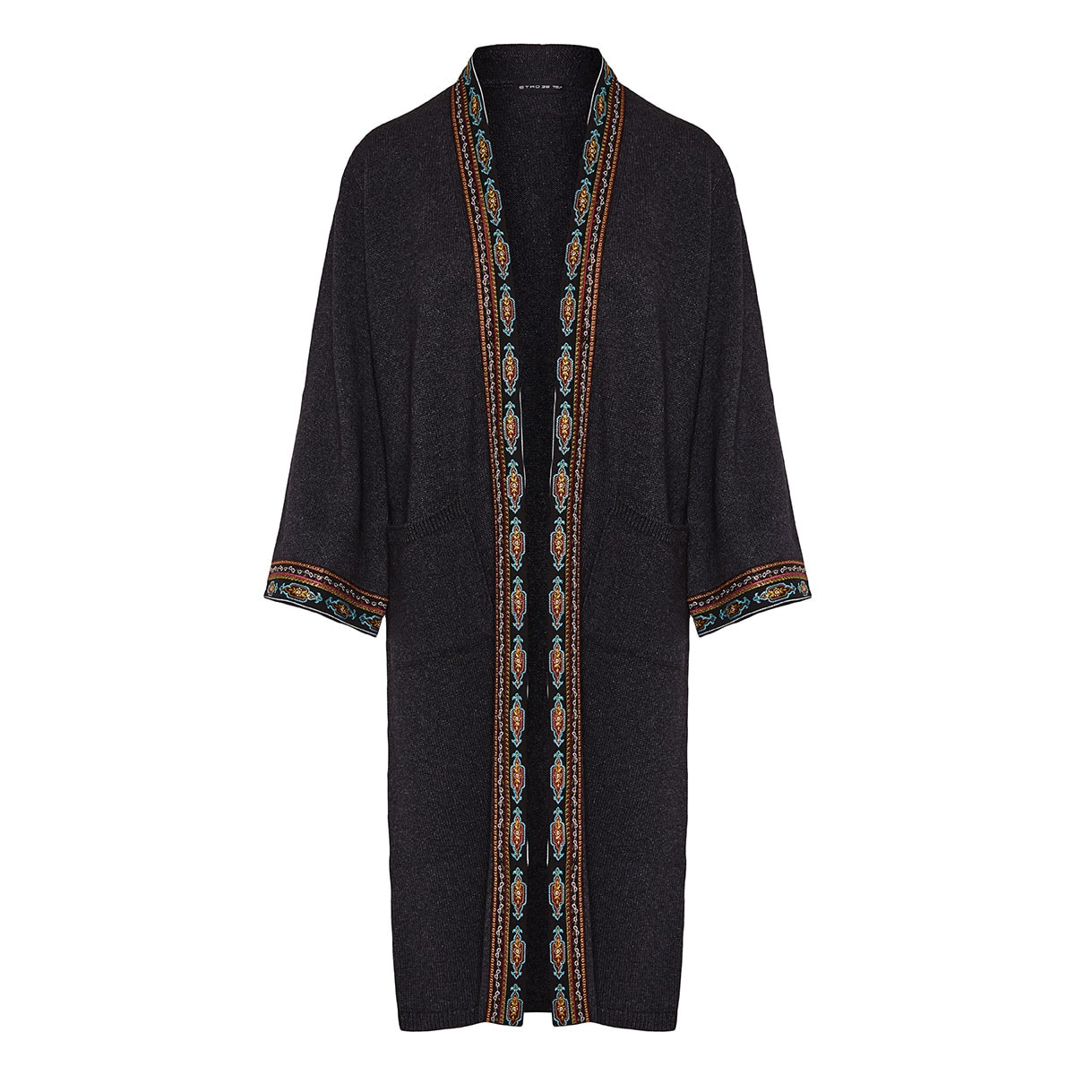 Embroidered-trim long cardigan