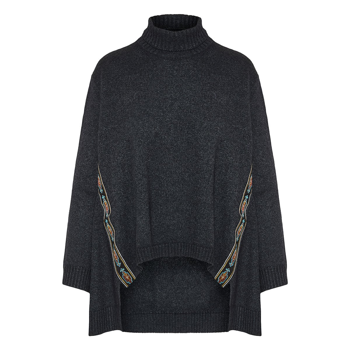 Embroidered-trim oversized sweater