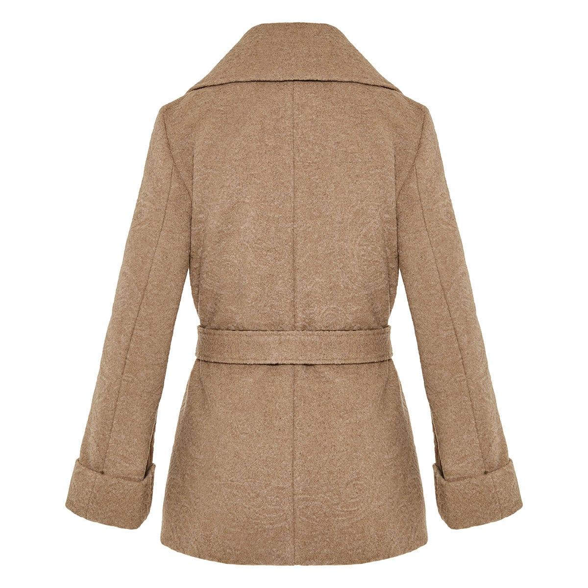 Belted jacquard wool coat