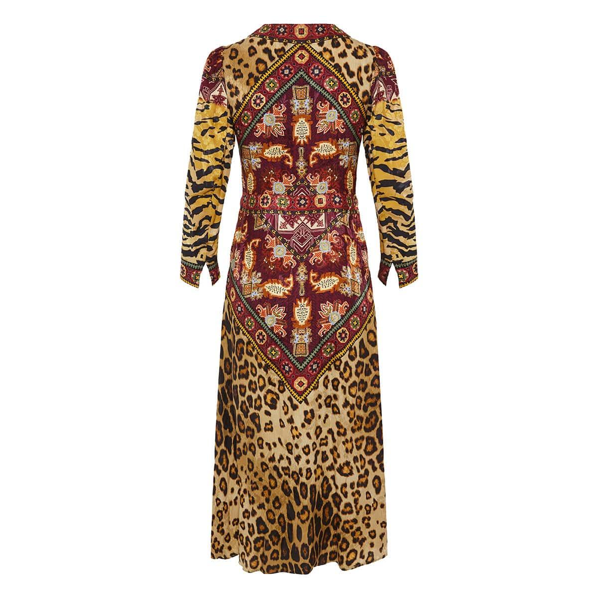 Patchwork printed jacquard midi dress