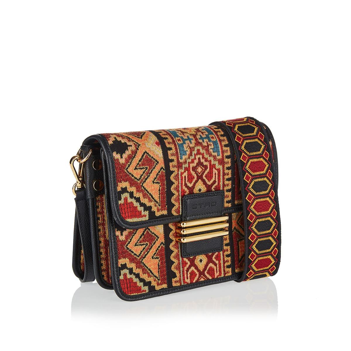 Ikat-print Rainbow embroidered bag