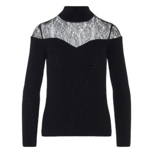 Lace paneled ribbed sweater