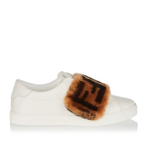 FF fur-trimmed leather sneakers