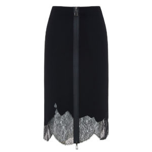 Lace-trimmed wool midi skirt