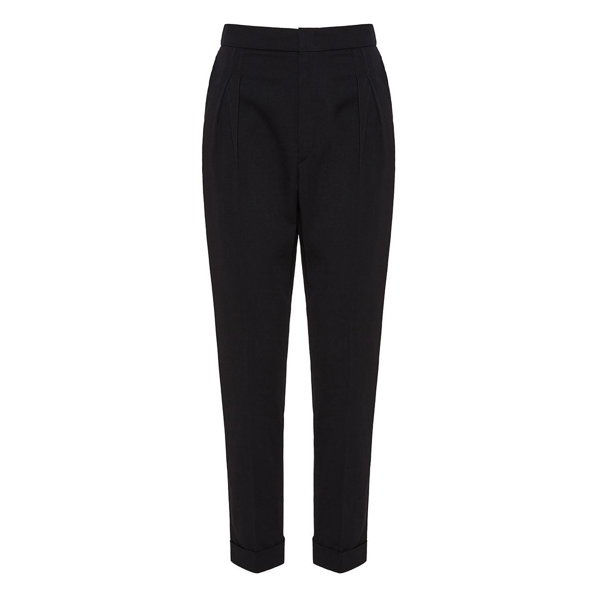 High-waist wool tailored trousers