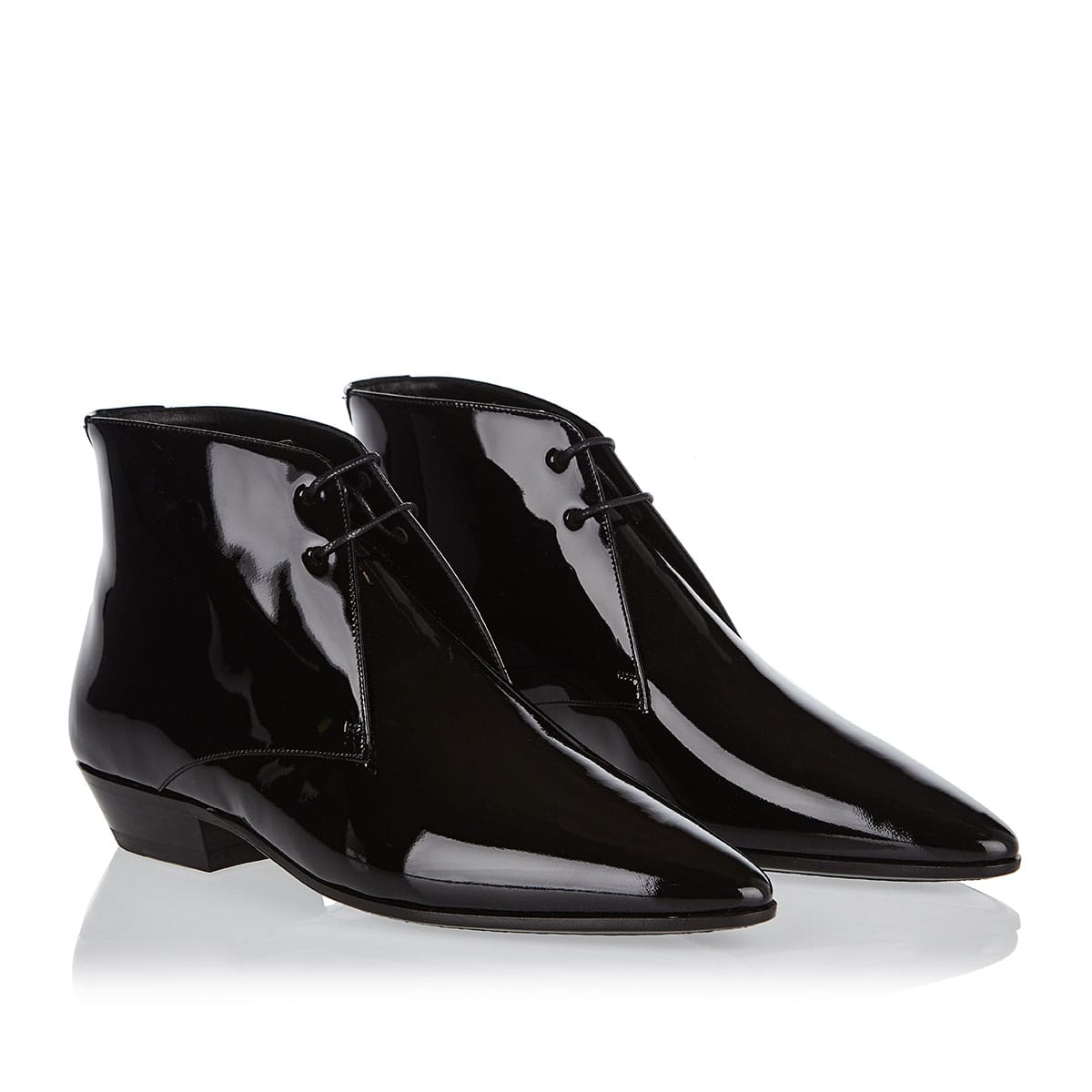 Jonas lace-up patent leather flat booties