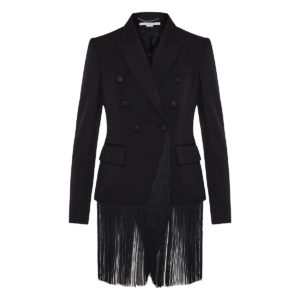 Double-breasted fringed blazer