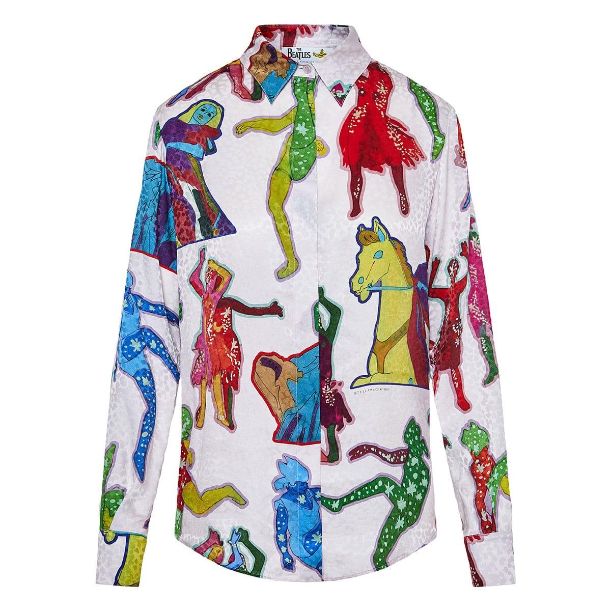 + The Beatles printed silk shirt