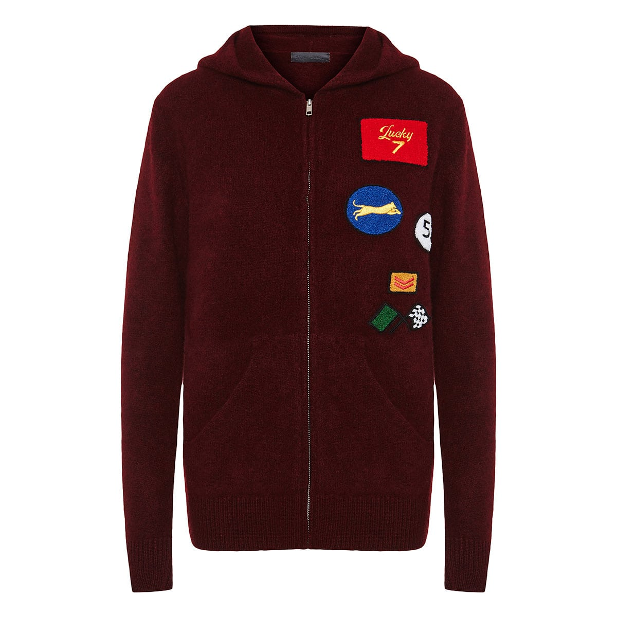Cashmere zipper hoodie with patches