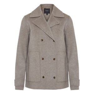 Double-breasted short wool coat