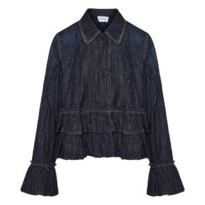 Ruffle-trimmed denim jacket