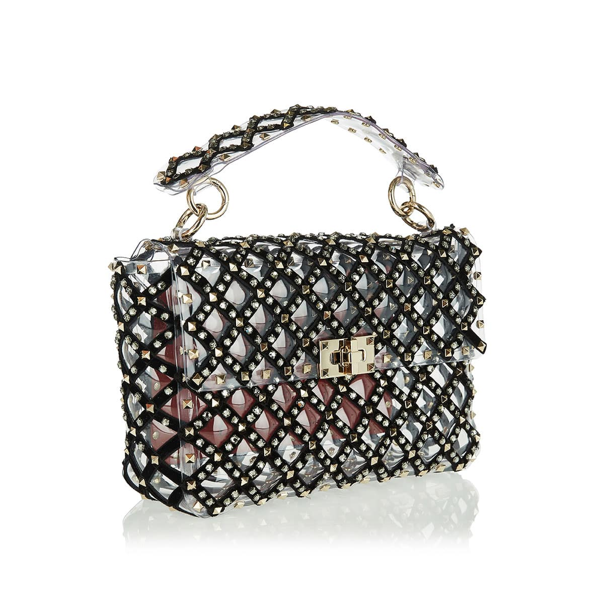 Medium Rockstud Spike.It embellished PVC bag