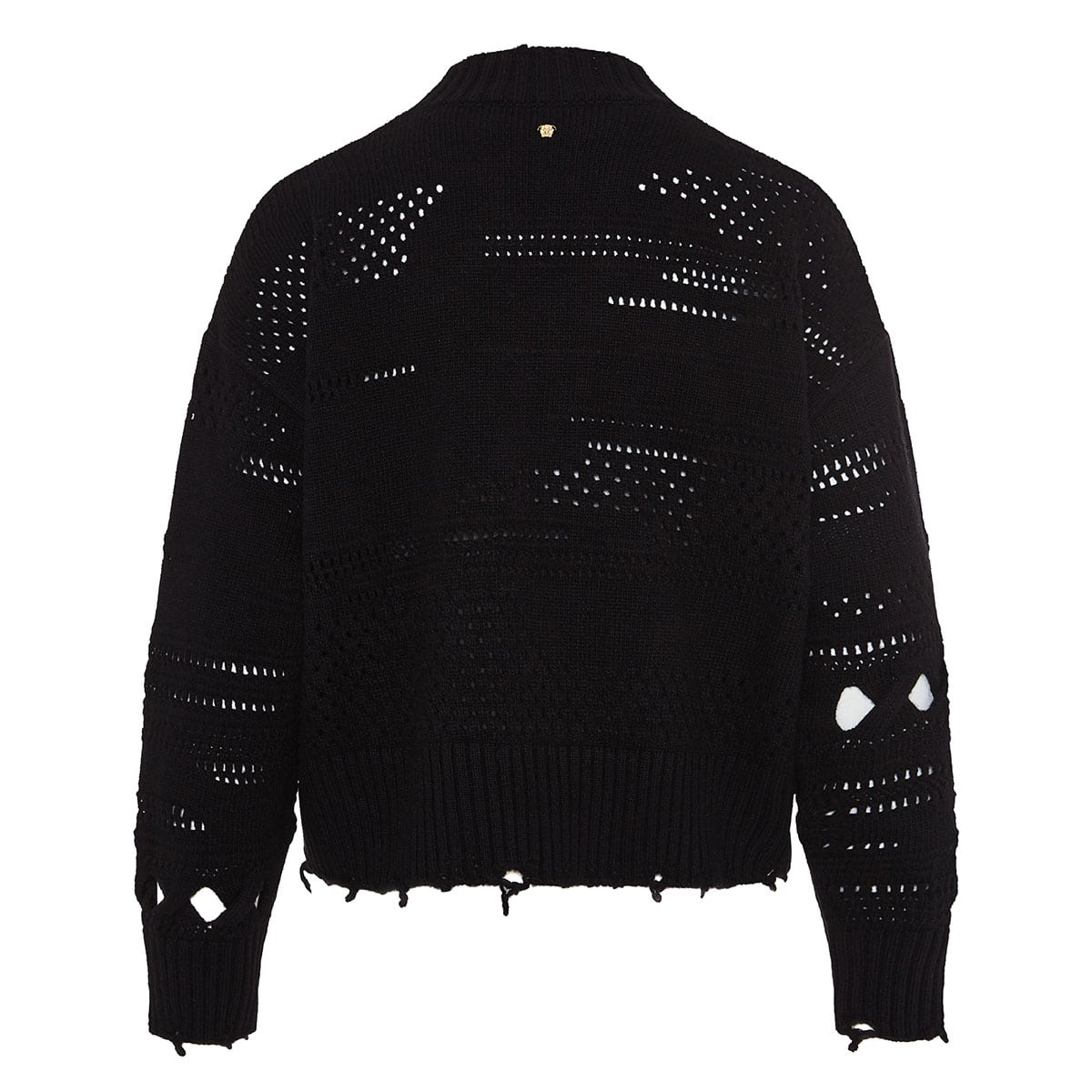 Perforated distressed wool sweater