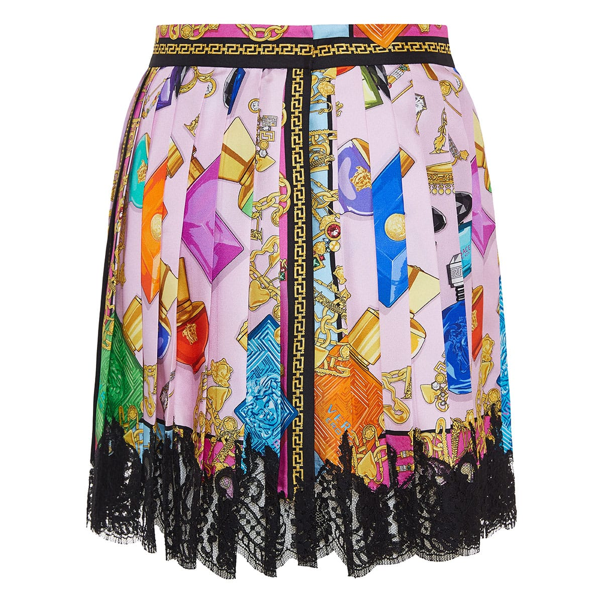 Lace-trimmed printed mini skirt