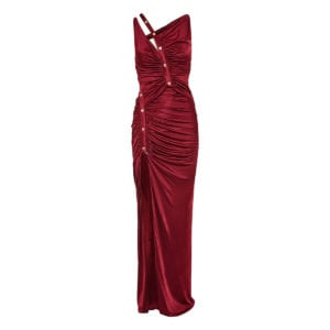 Asymmetric crepe de chine ruched gown
