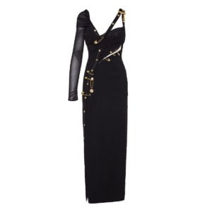 Pin-embellished long asymmetric dress