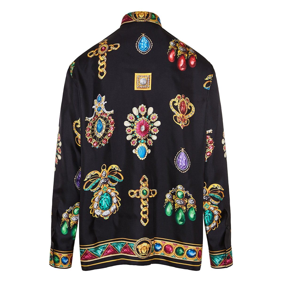 Jewel printed oversized silk shirt