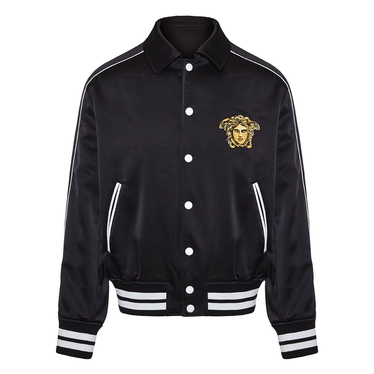 Dragon-embroidered satin bomber jacket