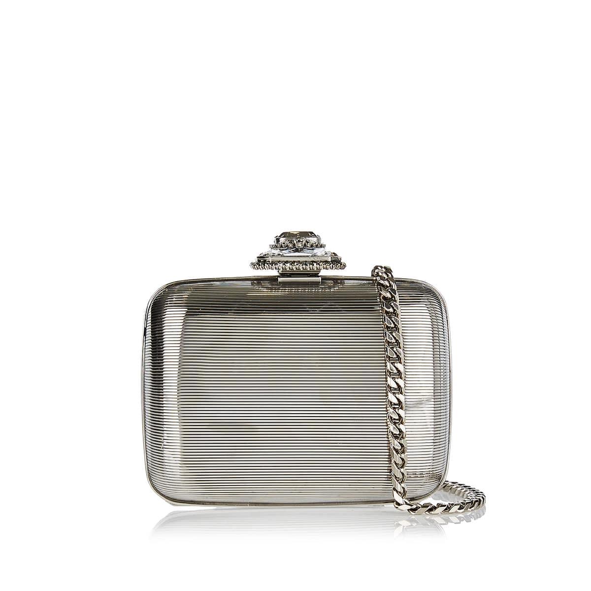Embellished mini metal clutch