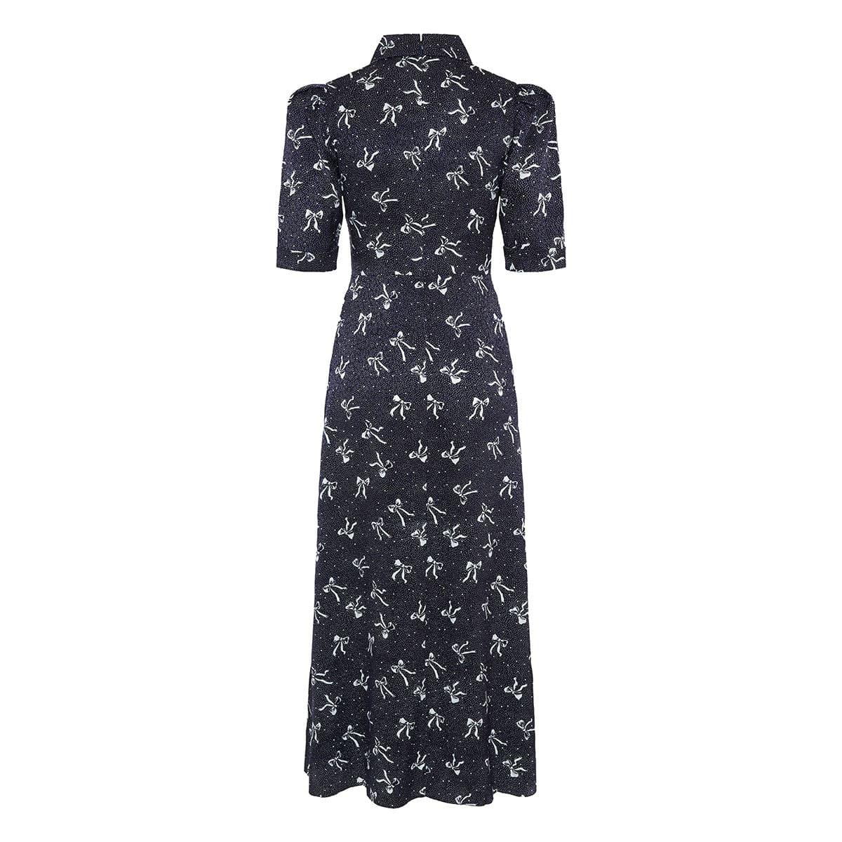 Bow-printed jacquard midi dress