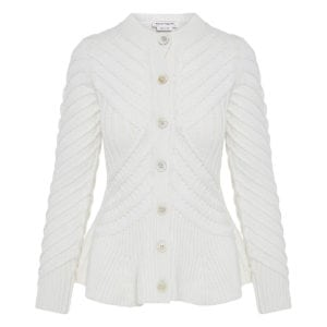 Ribbed-knit peplum cardigan