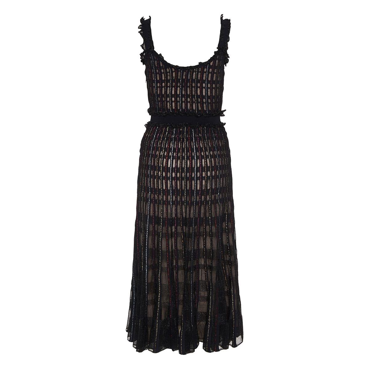 Sheer checked lurex midi dress
