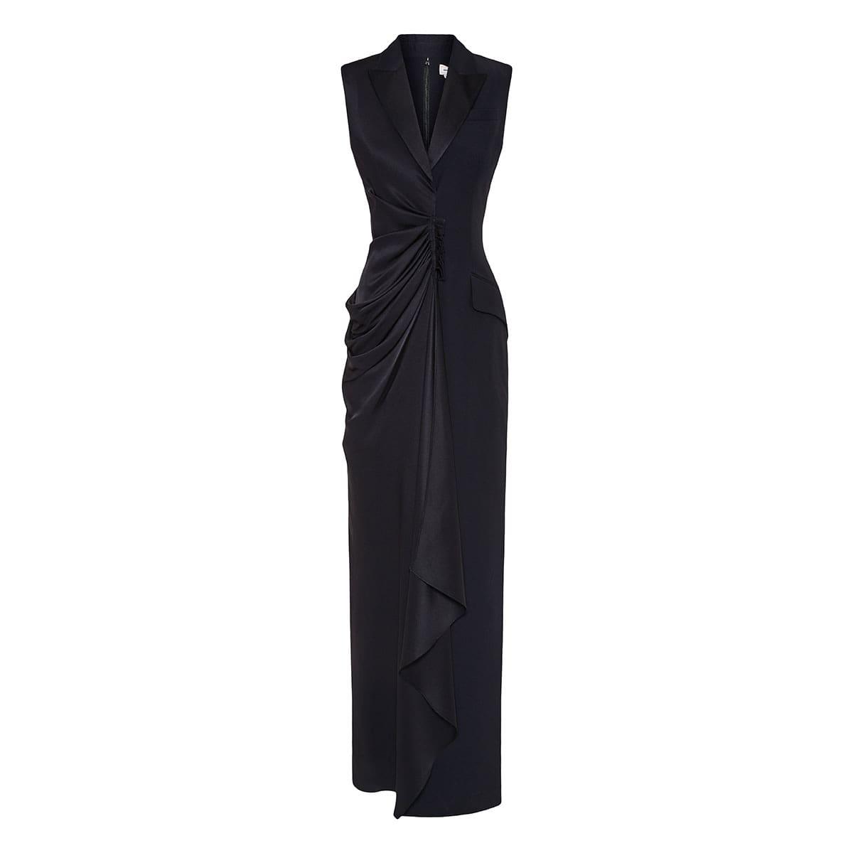 Asymmetric draped tuxedo dress