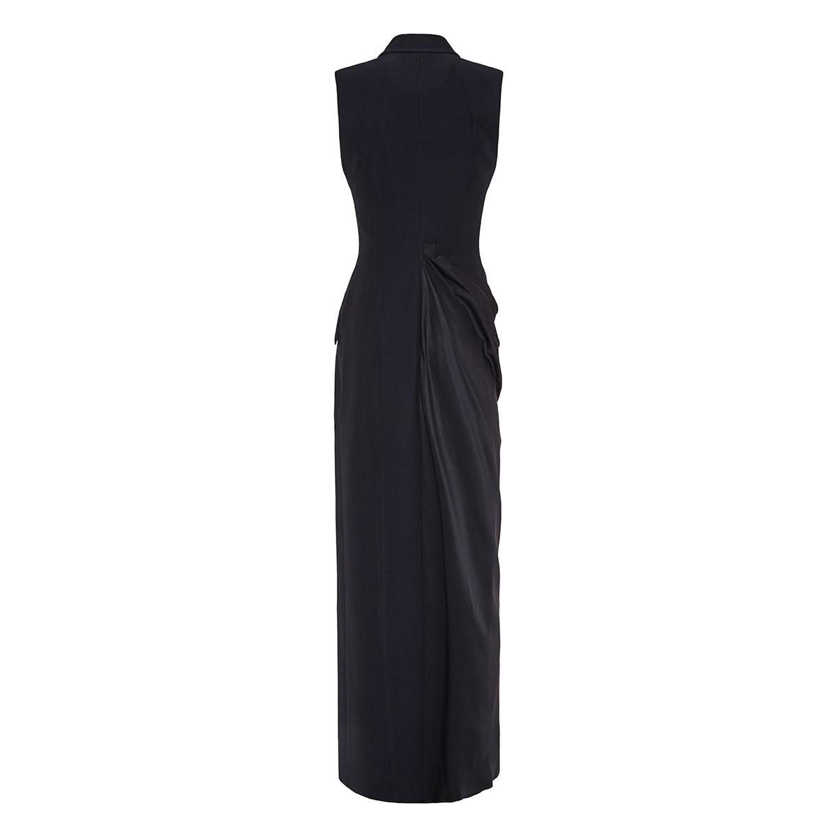Asymmetric draped tuxedo dress