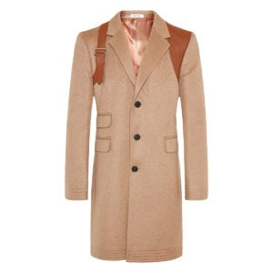 Harness-detailed wool coat
