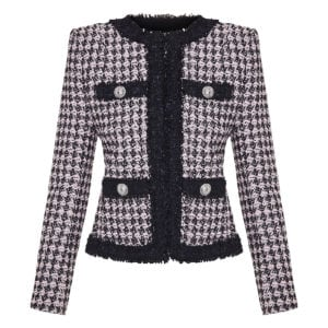 Houndstooth frayed tweed jacket