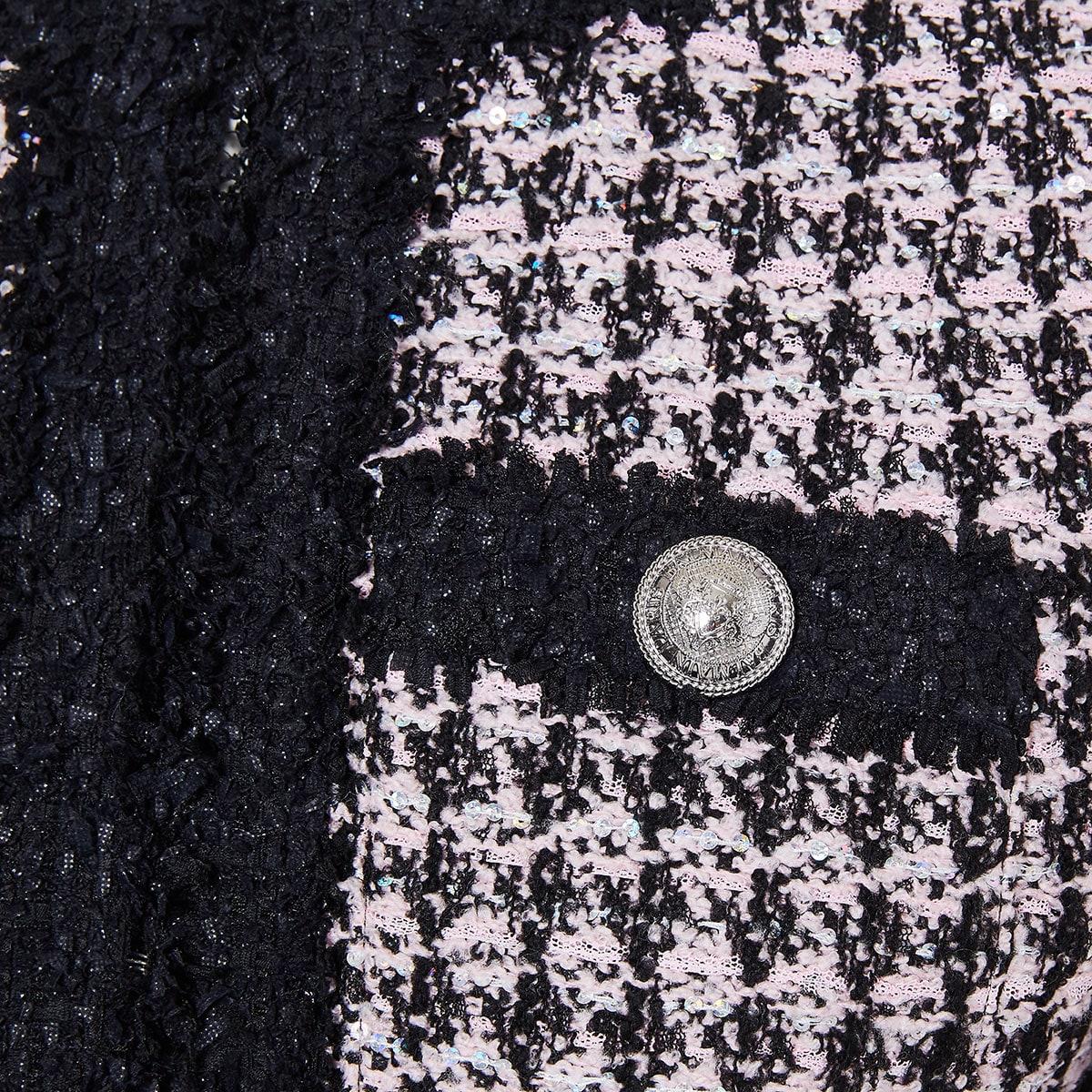 Houndstooth frayed tweed jacket
