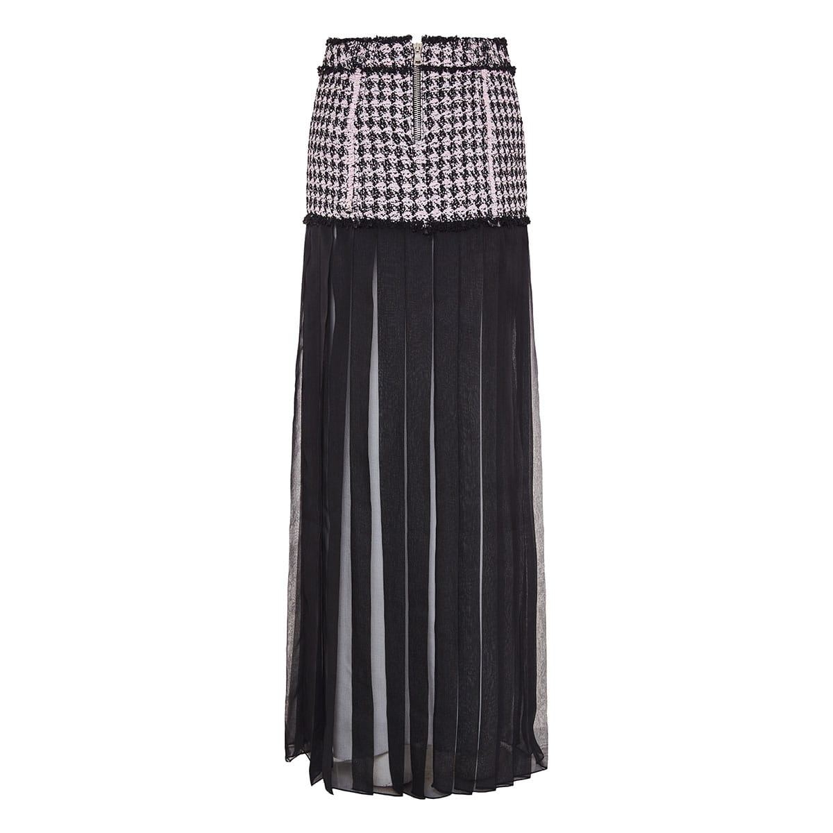 Long sheer pleated skirt with tweed