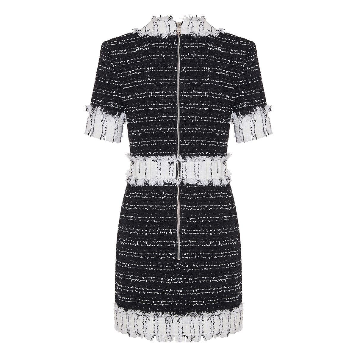 Frayed tweed mini dress