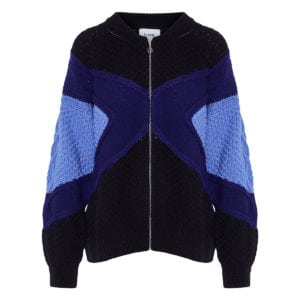 Colour-block oversized zipper cardigan