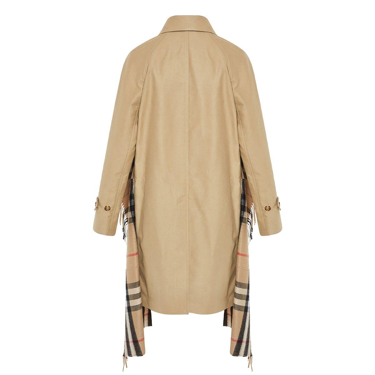 Scarf-paneled car coat