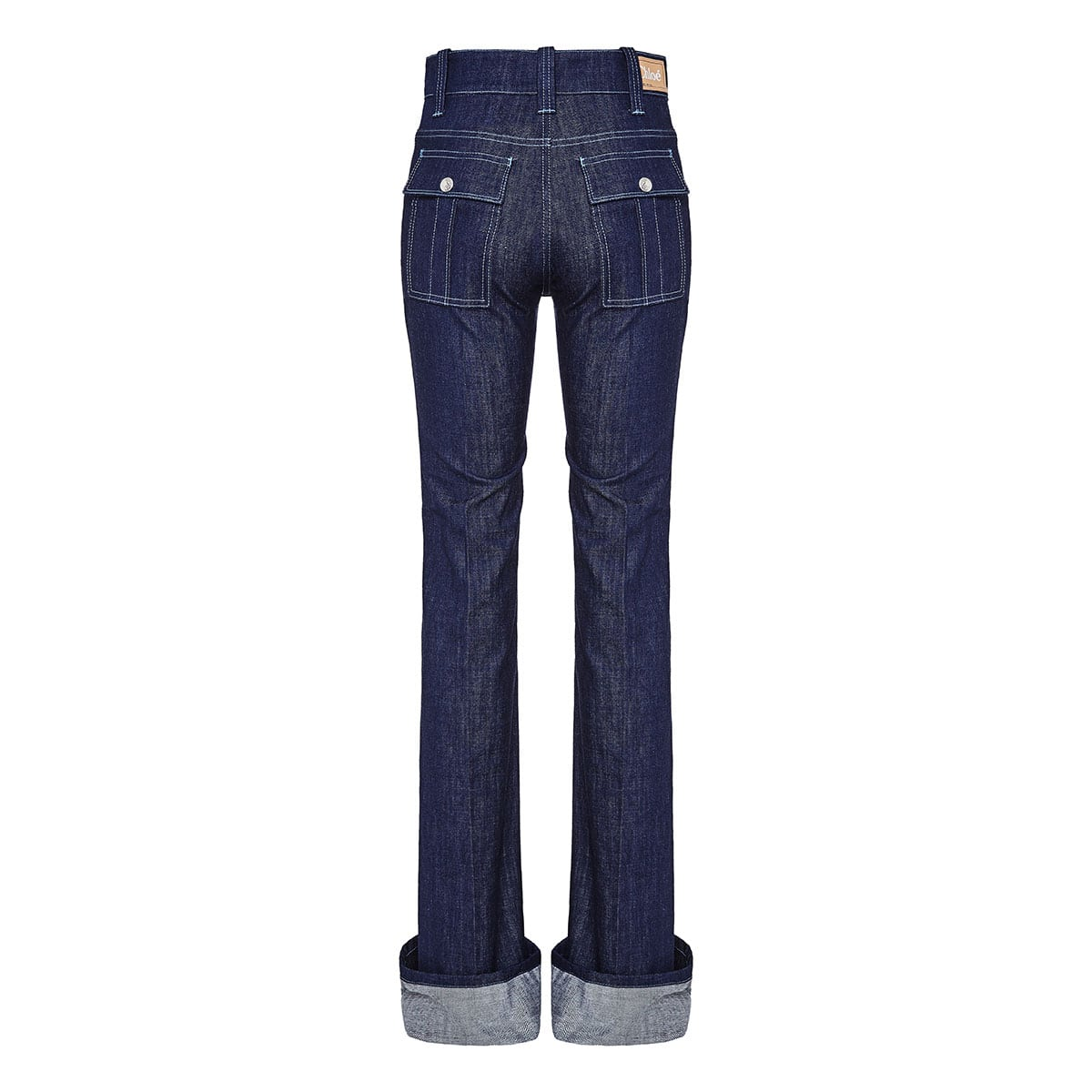 Flared jeans with folded hems
