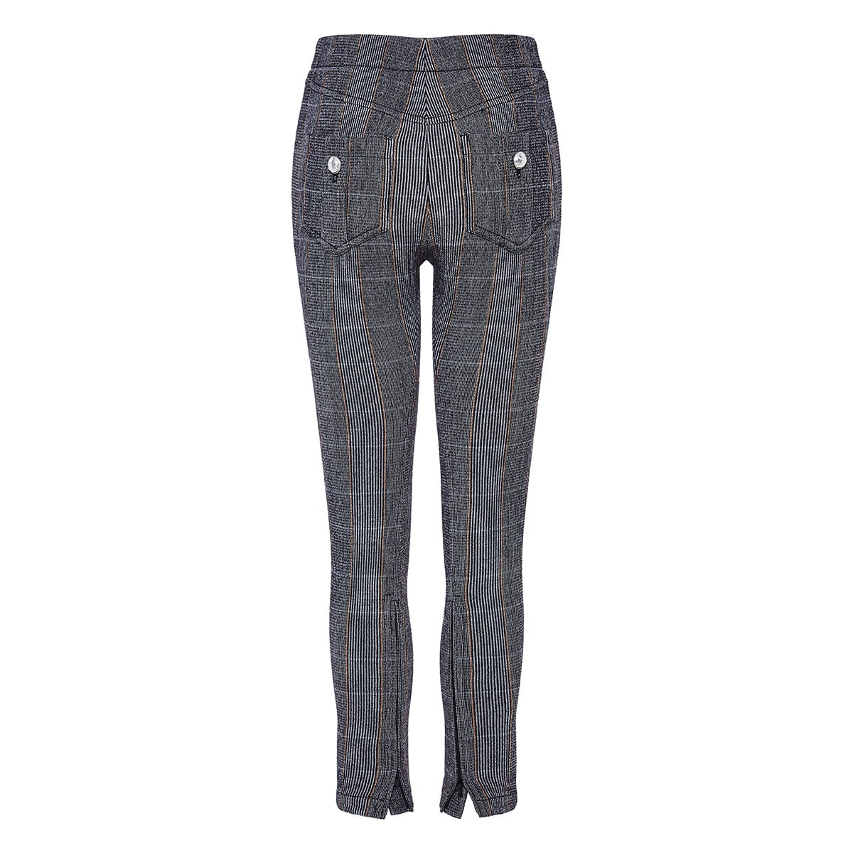 Checked cropped skinny trousers