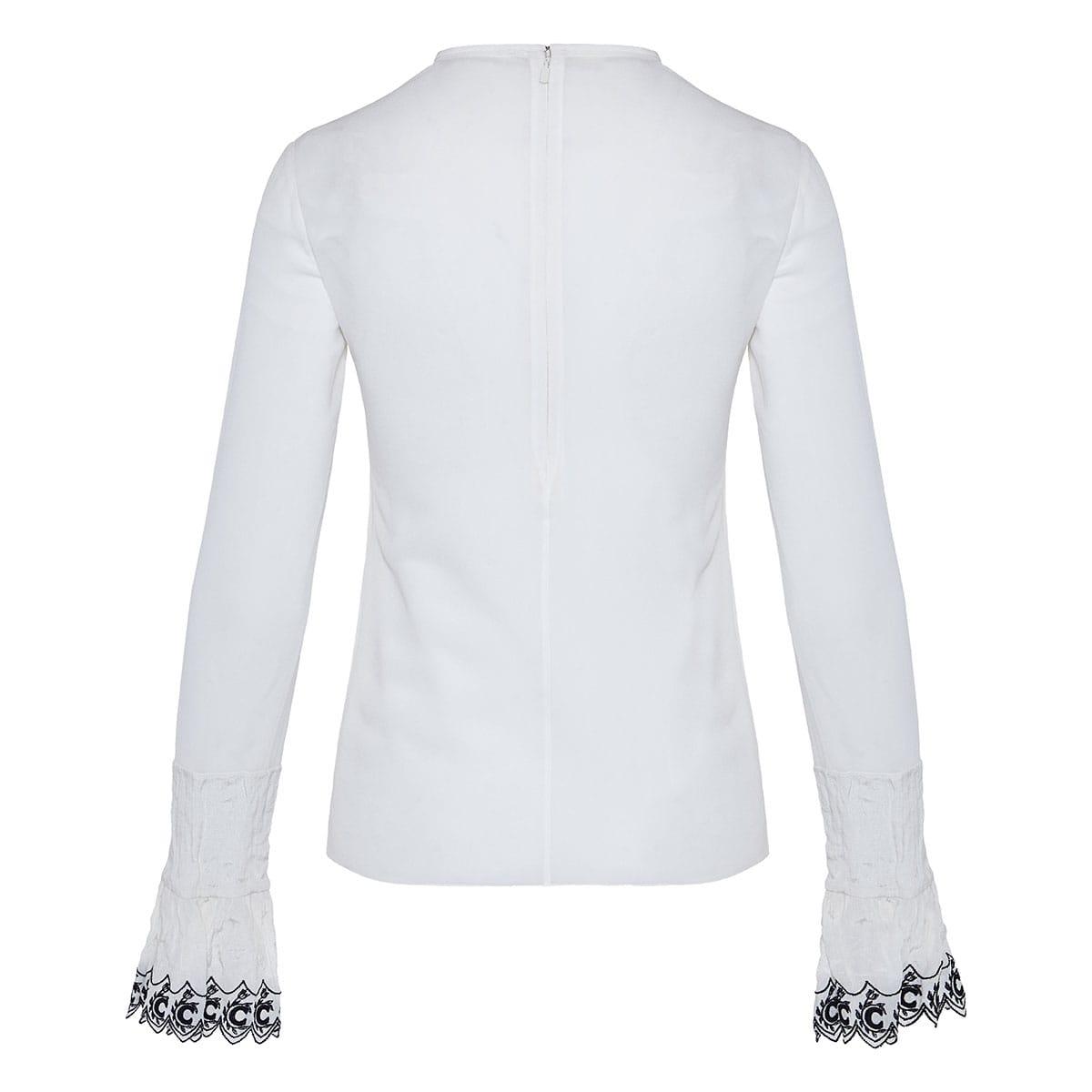 Ruffle-trimmed silk blouse