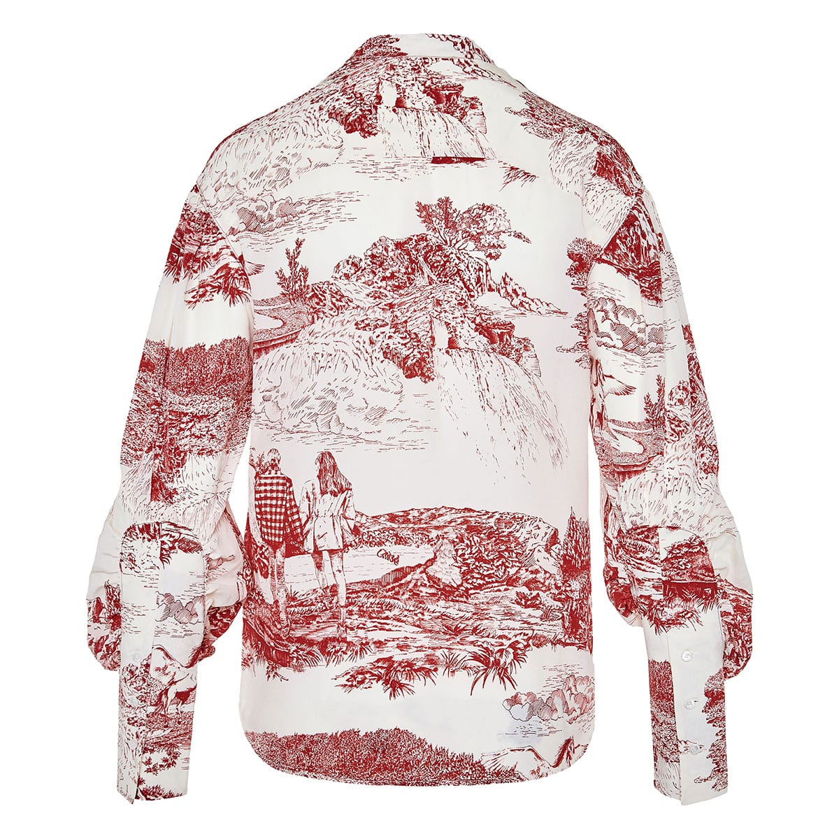 Balloon-sleeved printed blouse