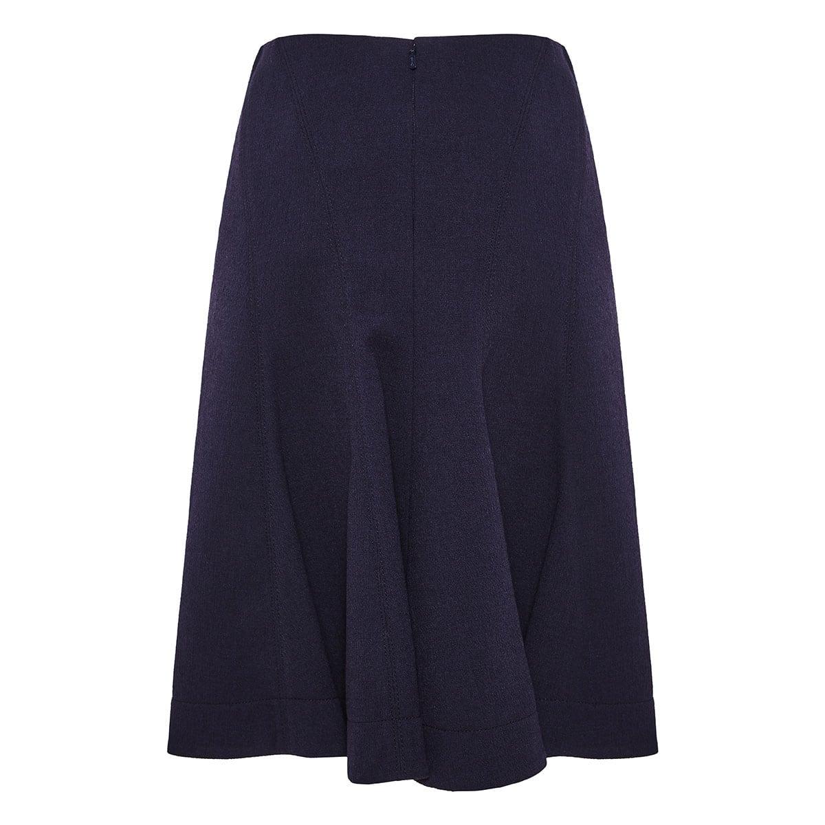Flared wool crepe midi skirt