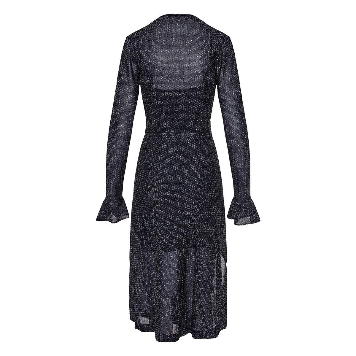 Lurex-knitted wrap midi dress