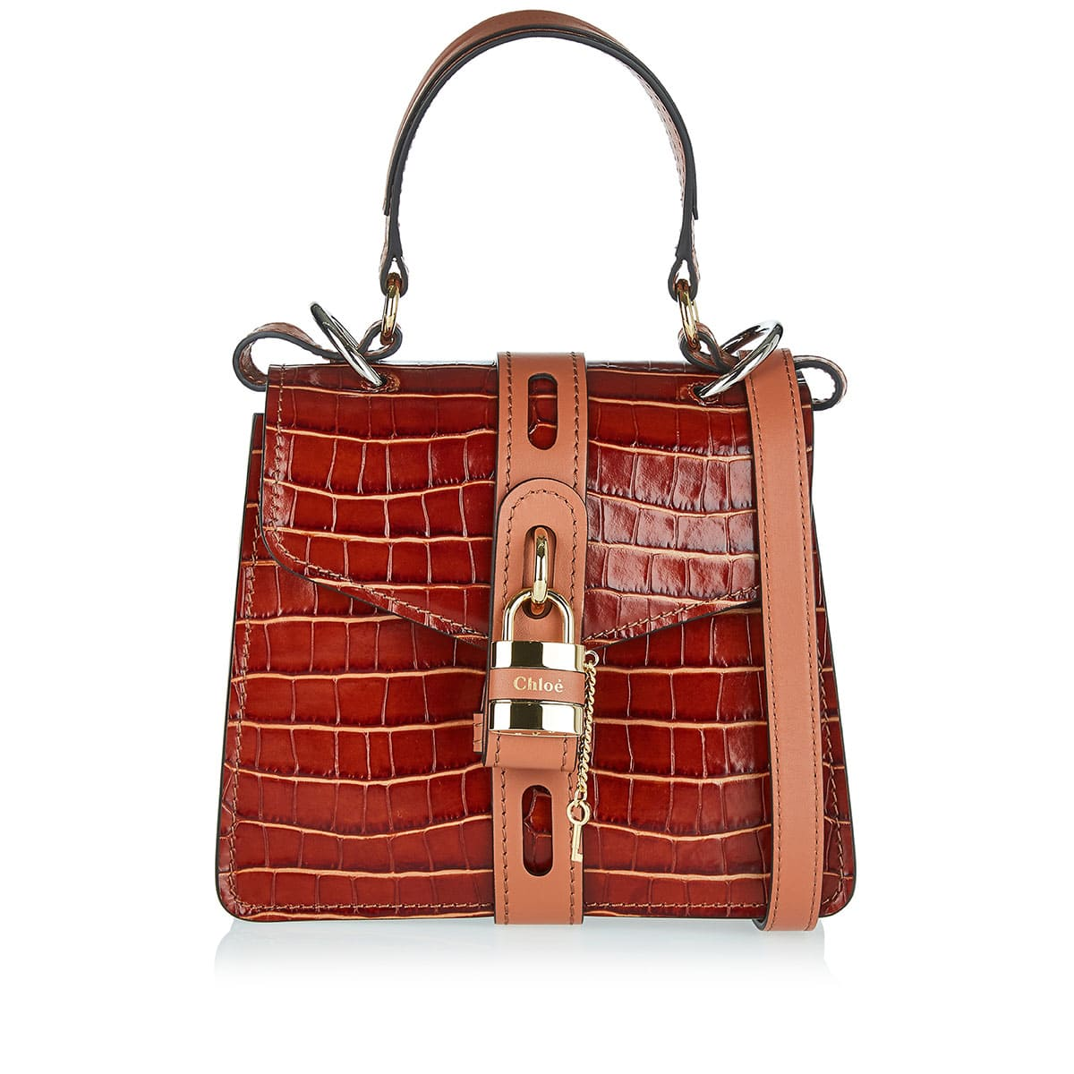 Aby small croc-effect shoulder bag