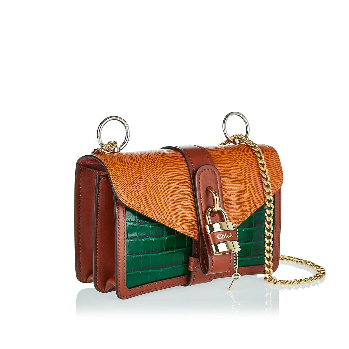 Aby Chain croc and lizard effect bag