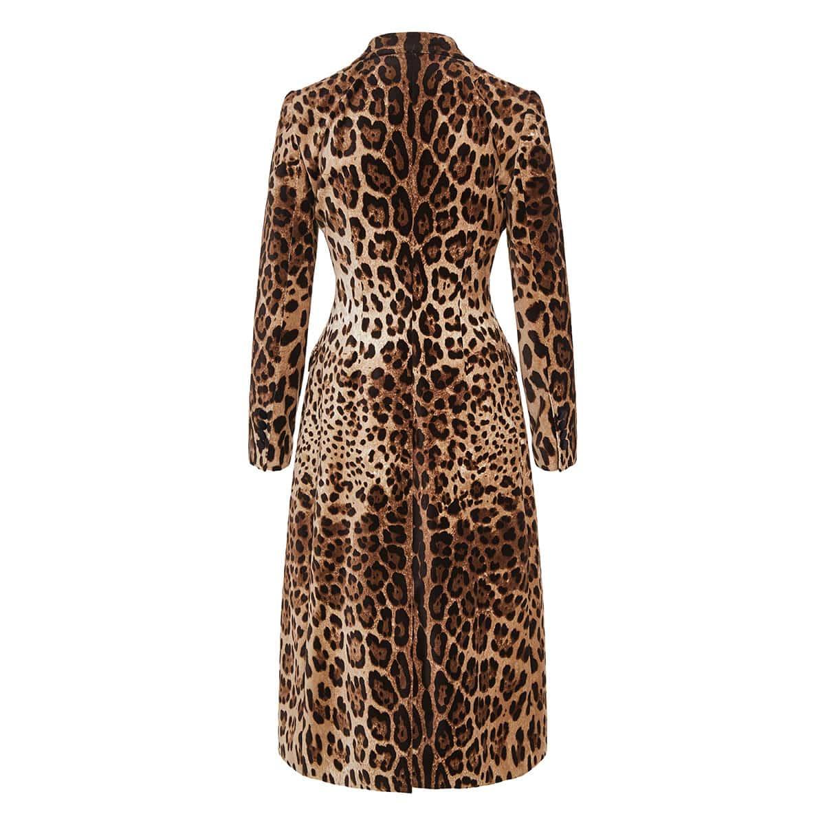 Leopard double-breasted velvet coat