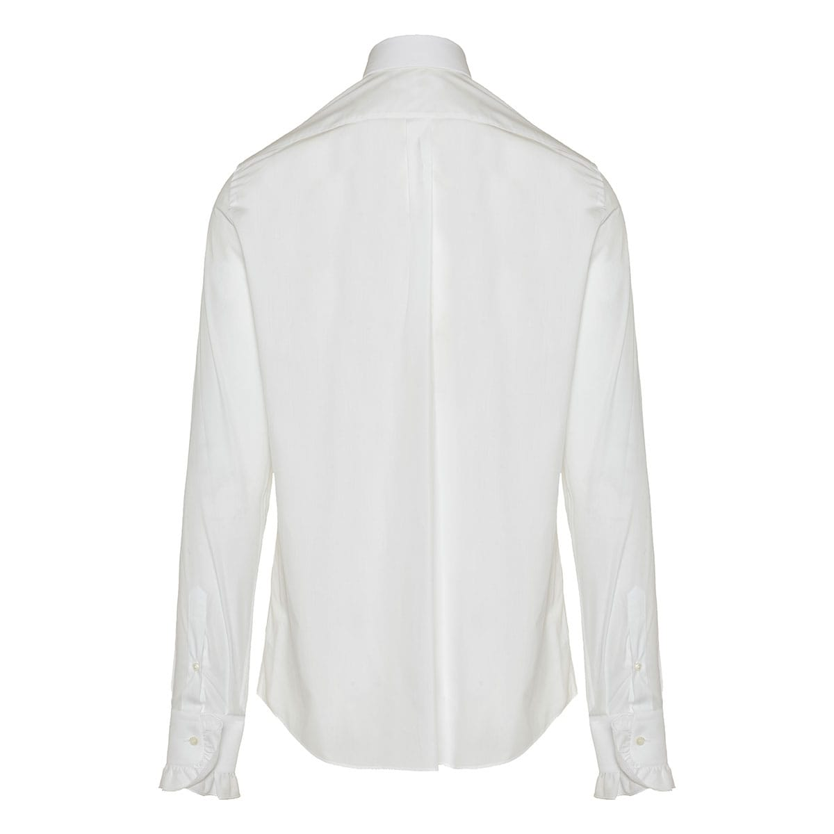Ruffle-trimmed cotton shirt
