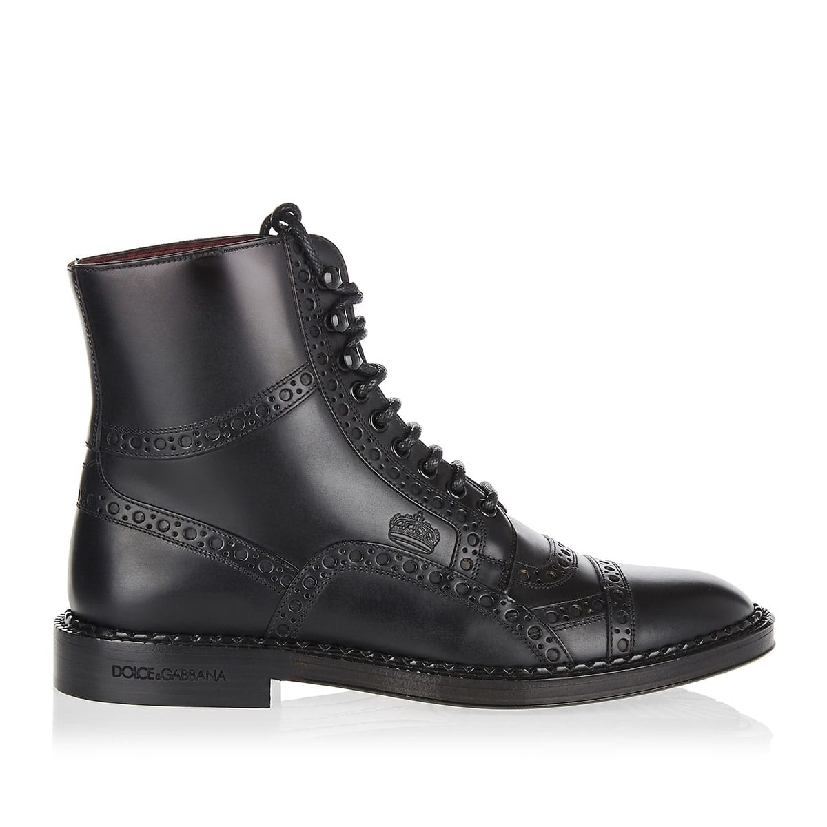 Leather brogue boots